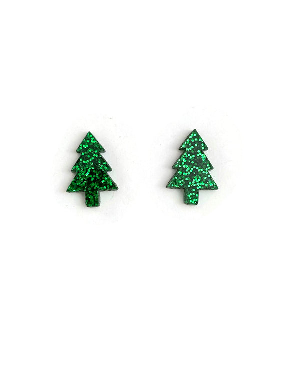 Green Glitter Christmas Tree Stud Earrings