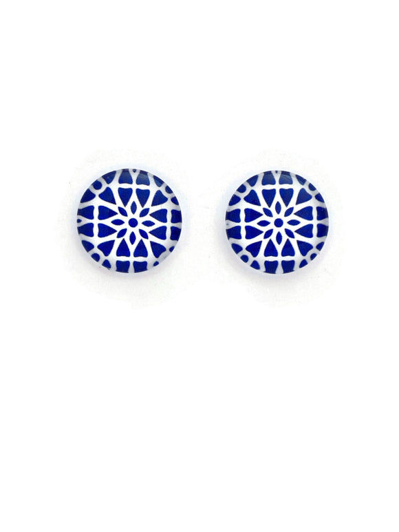 Blue & White Pattern Stud Earrings