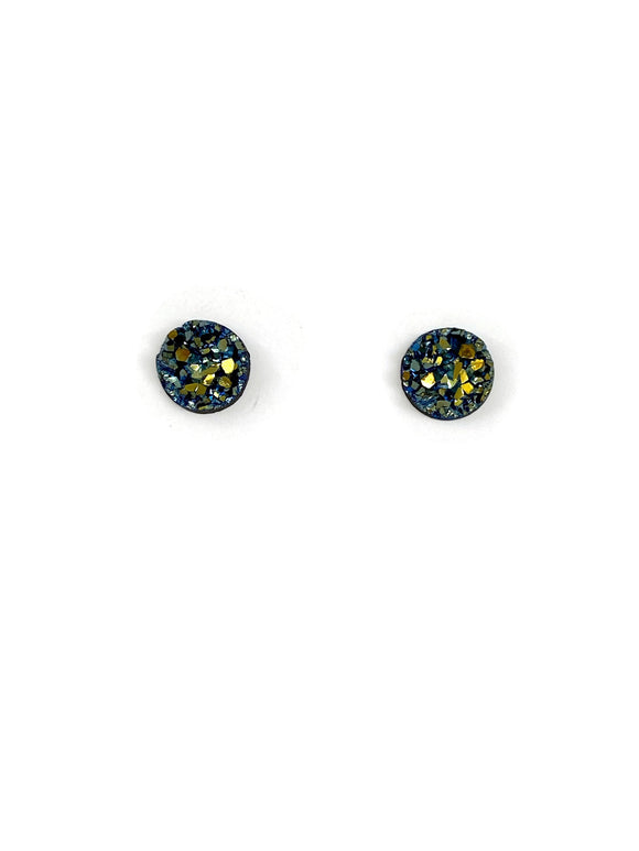 Blue with Gold Sparkle Resin Studs Earrings