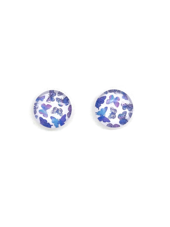 Purple Butterflies Stud Earrings
