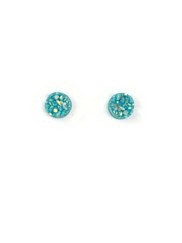 Milky Turquoise  Sparkle Resin Studs Earrings