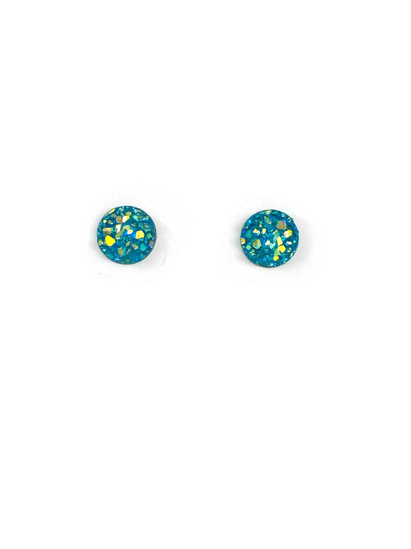 Turquoise Sparkle Resin Studs Earrings