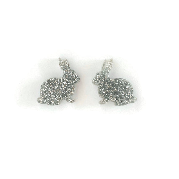 Silver Glitter Perspex Bunny Stud Earrings
