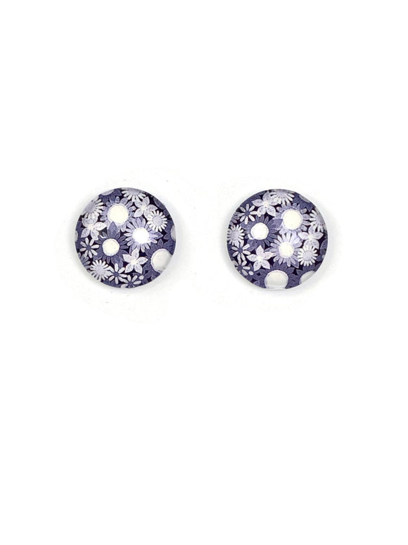 Grey Shaded Flowers Stud Earrings