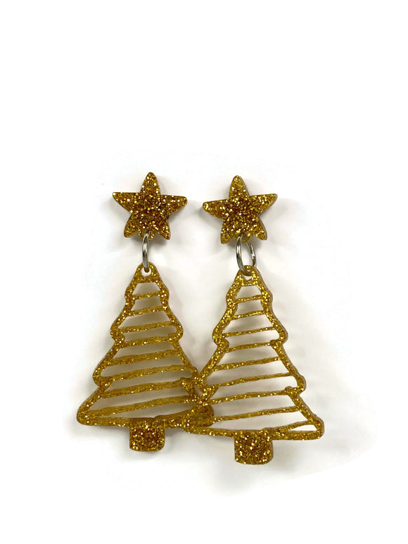 Gold Glitter Christmas Tree Dangle Earrings