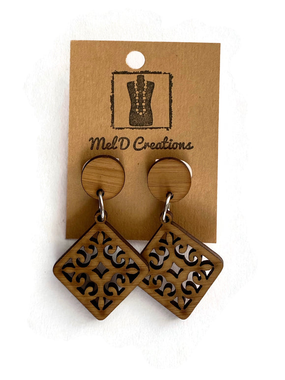 Bamboo Squared Fleur Dangle Earrings