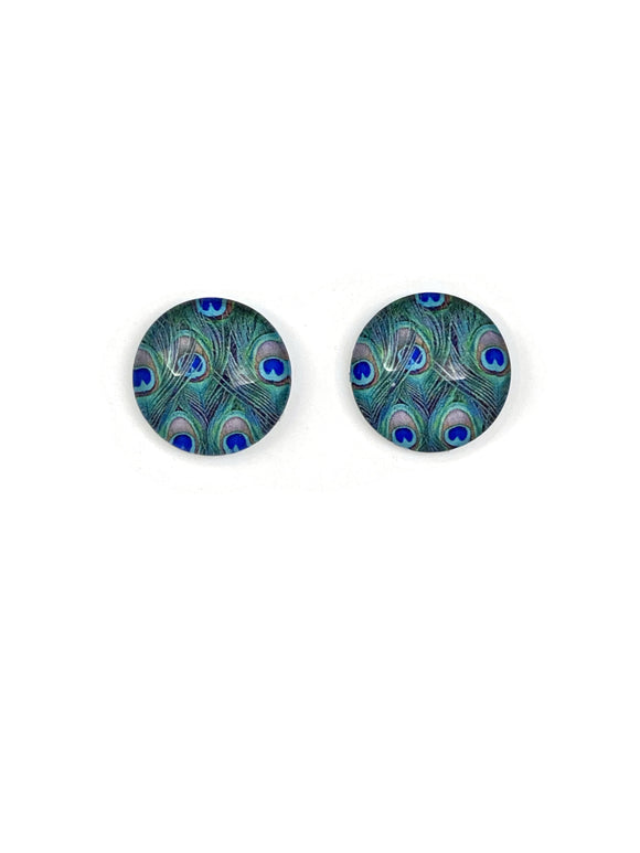 Peacock Feathers Stud Earrings
