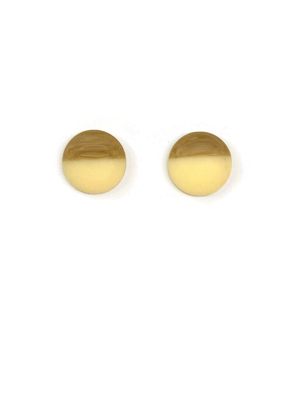 Frosted Imitation Wood and Cream Resin Stud Earrings