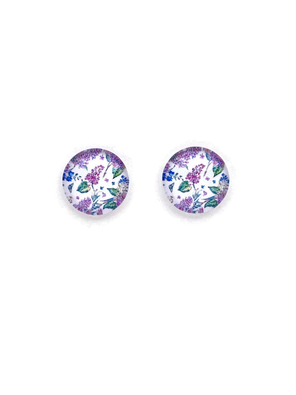 Purple Florals Stud Earrings