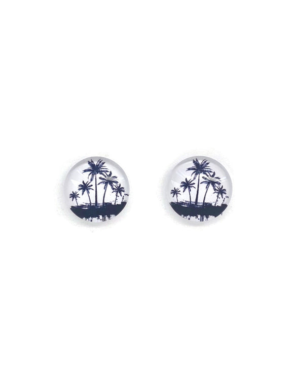 Monochrome Palm Trees Stud Earrings