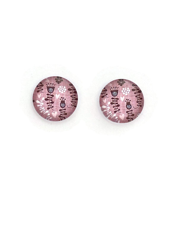 Pink Funky Flowers Stud Earrings
