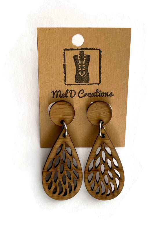Bamboo Leaf Teardrop Dangle Earrings