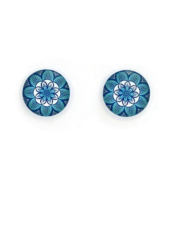 Turquoise Mandala Stud Earrings