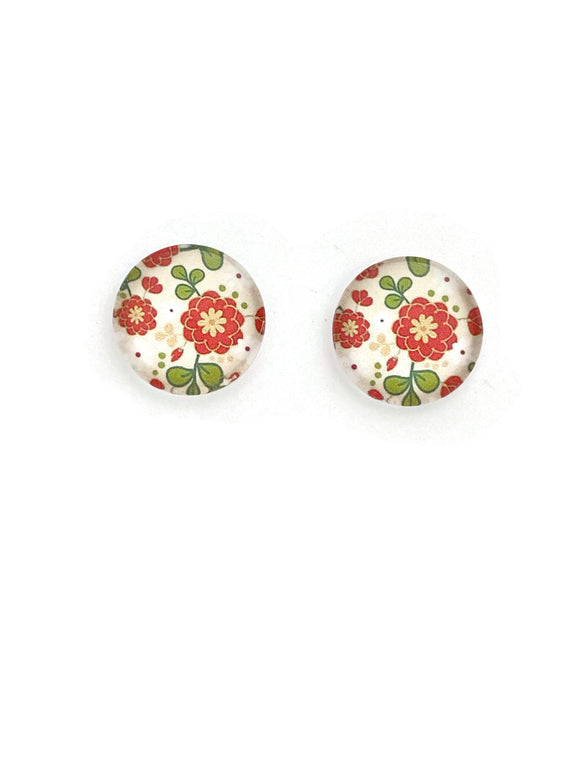 Orange Flowers Stud Earrings