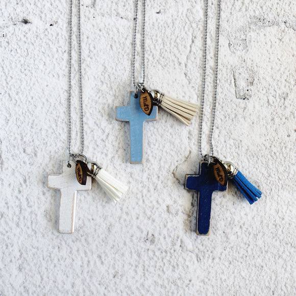 Martina Wooden Cross Necklaces  Available in a variety of colours
