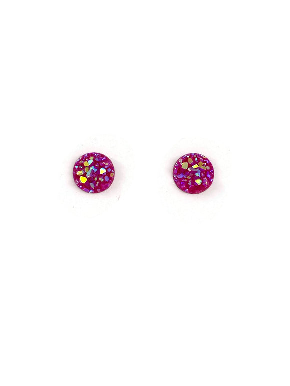 Bright Pink Sparkle Resin Studs Earrings