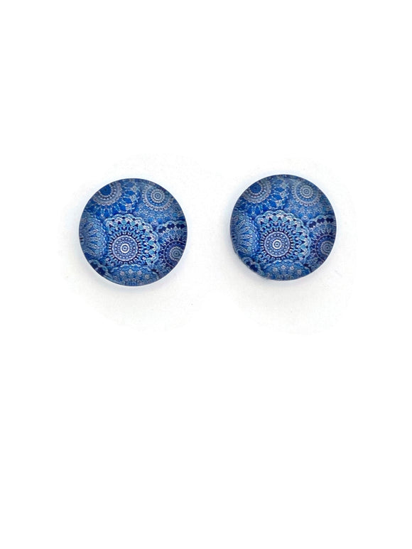 Blue Mandala Circles Stud Earrings