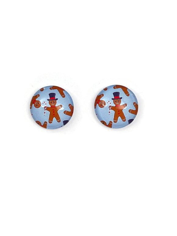 Ginger bread man / light blue Stud Earrings
