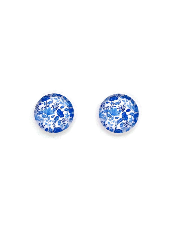Blue Flowers Stud Earrings