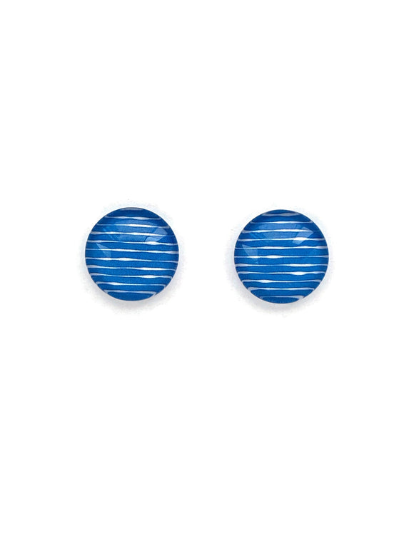 Blue Striped Stud Earrings