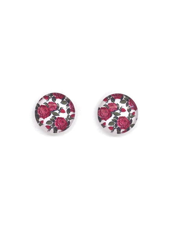 Red Roses Stud Earrings