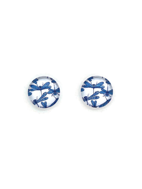 Aqua Dragonflies Stud Earrings