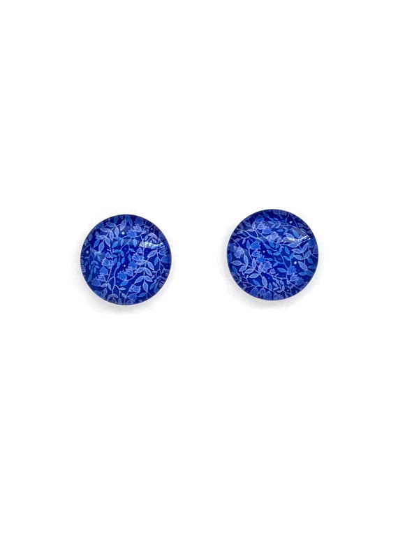 Blue Purple Leaves Pattern Stud Earrings
