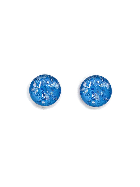 Blue Art Stud Earrings