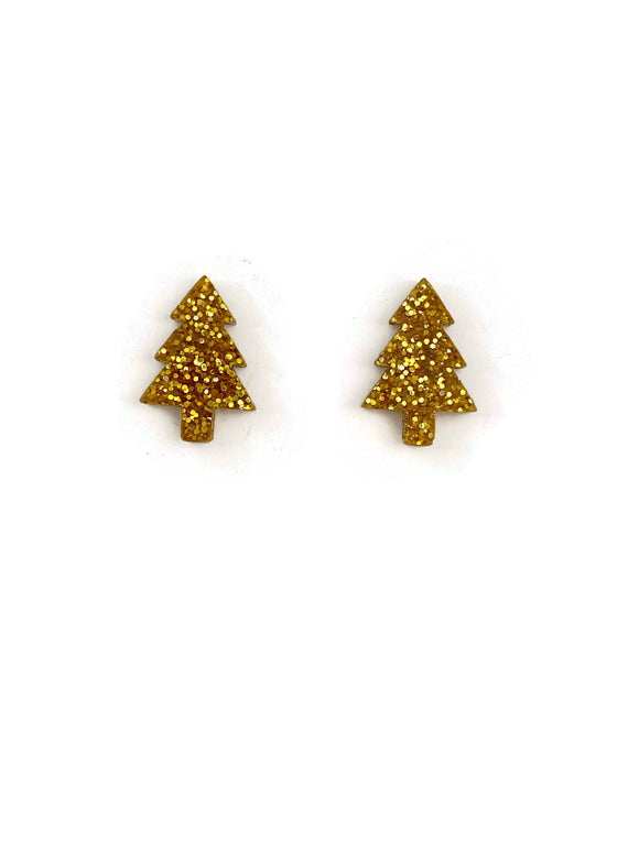 Gold Glitter Christmas Tree Stud Earrings