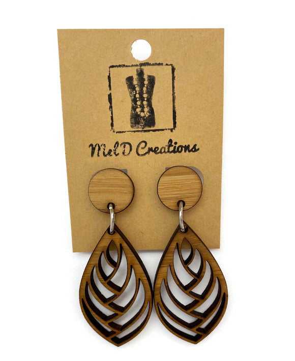 Bamboo Woven Teardrop Dangle Earrings