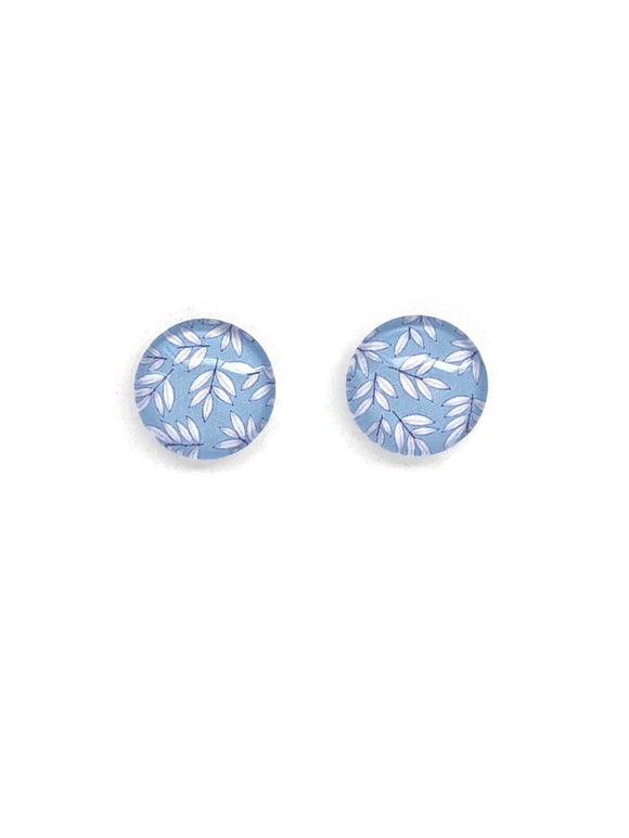 White Leaves Stud Earrings