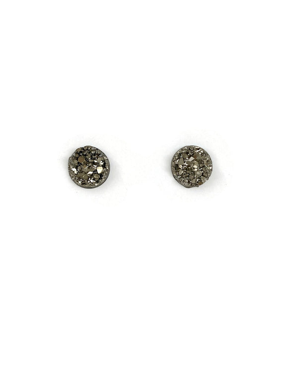 Pewter Sparkle Resin Studs Earrings