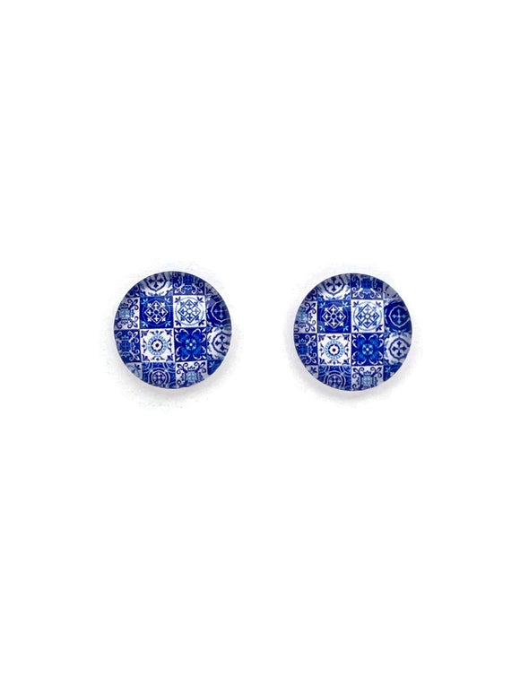 Blue Patchwork Stud Earrings