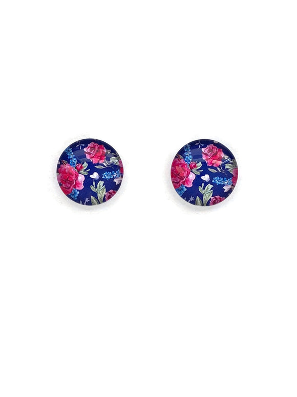 Blue and Pink Florals Stud Earrings