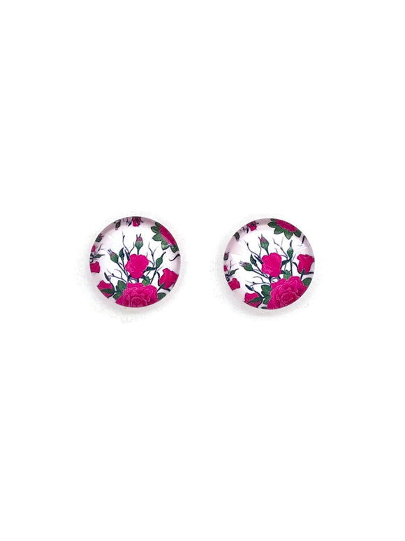 Pink Roses Stud Earrings