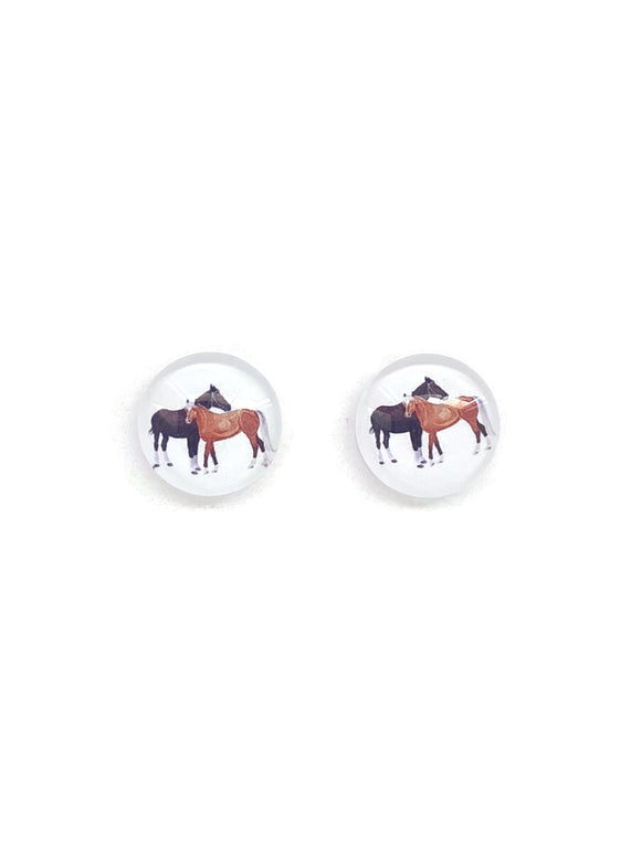 Brown Horses Stud Earrings