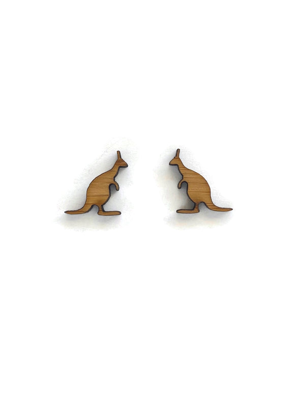 Bamboo Kangaroo Stud Earrings