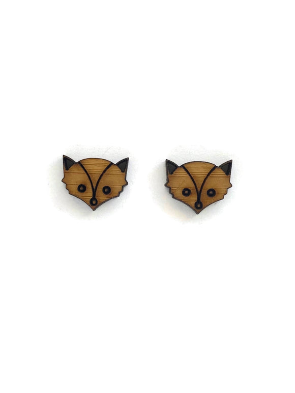 Bamboo Fox Stud Earrings