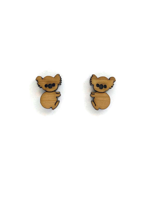 Bamboo Koala  Stud Earrings