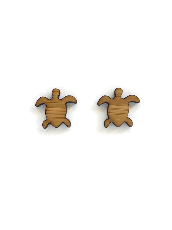 Bamboo Turtle Stud Earrings