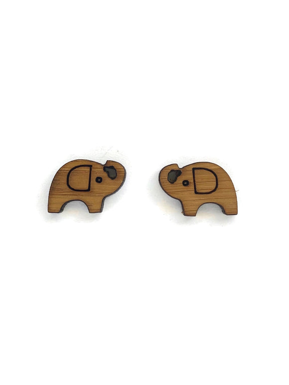 Bamboo Elephant Stud Earrings
