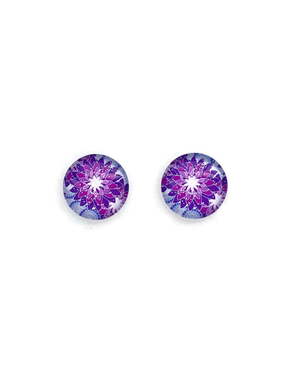 Purple Abstract Pattern Stud Earrings