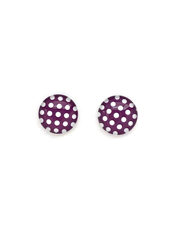 Brown and White Polka Dots Stud Earrings