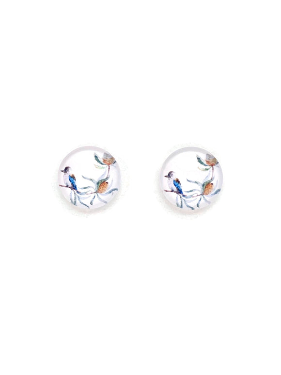 Kookaburra on Banksia Stud Earrings