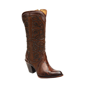 Women's Cuadra Python Belly Boot 2Q05PH - Tabaco