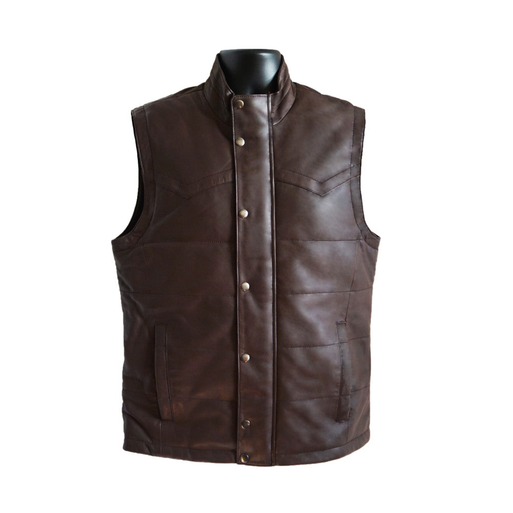 AJ Leather Button Vest