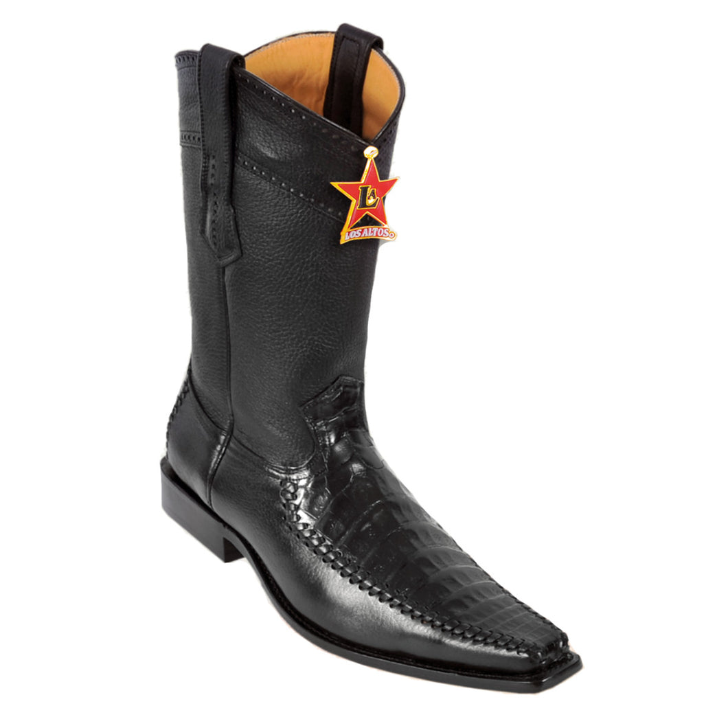 Los Altos Boots Narrow Square Toe Caiman Belly w/Deer