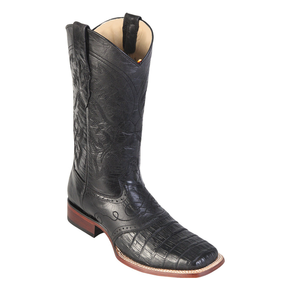 Los Altos Boots Wide Square Toe Caiman Belly w/Saddle