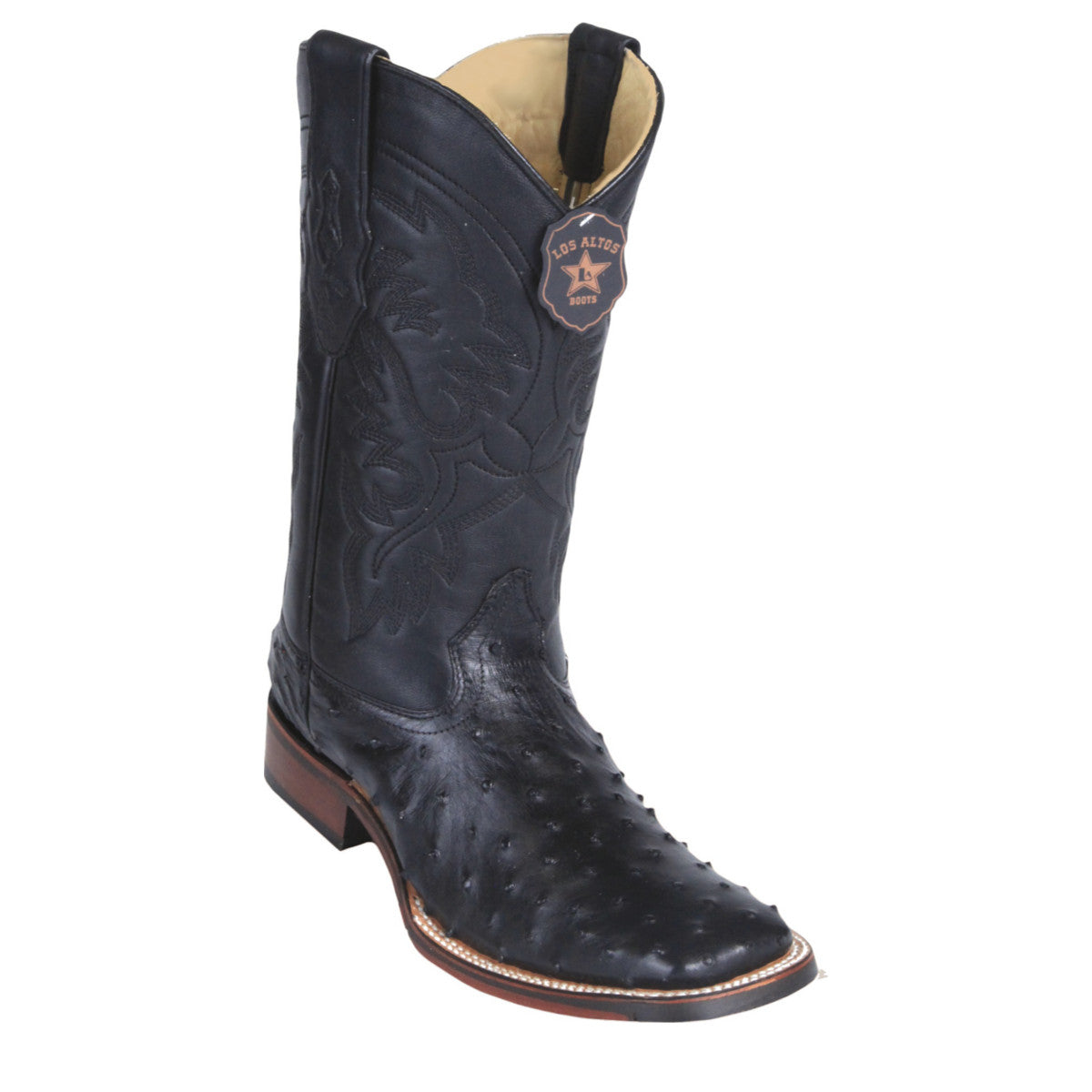 Los Altos Boots Wide Square Toe Ostrich