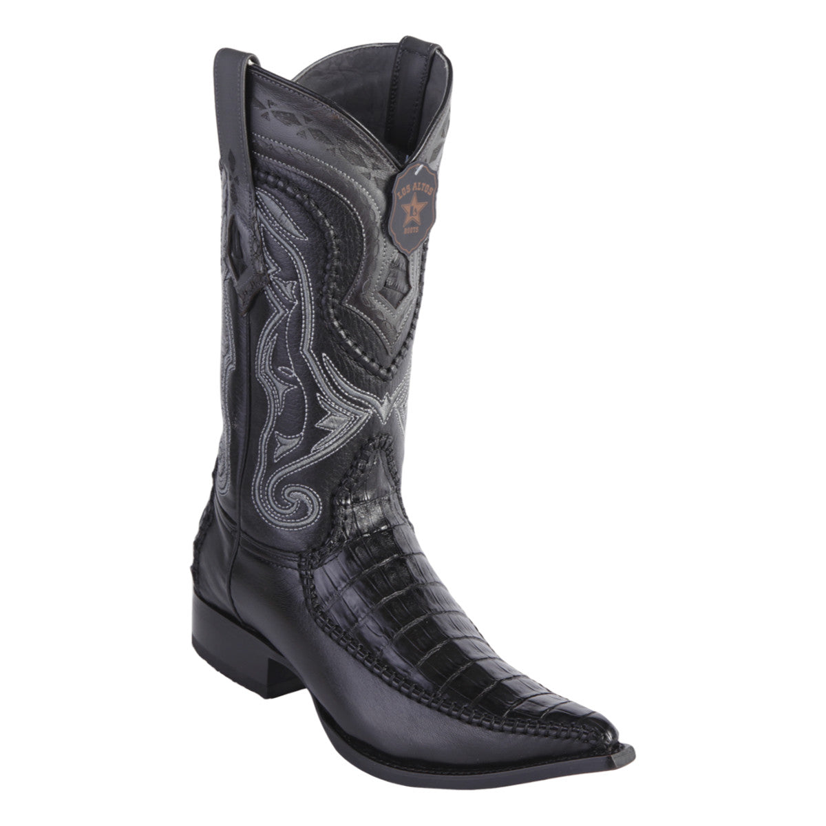 Los Altos Boots 3x Toe Stitched Caiman Belly w/Deer